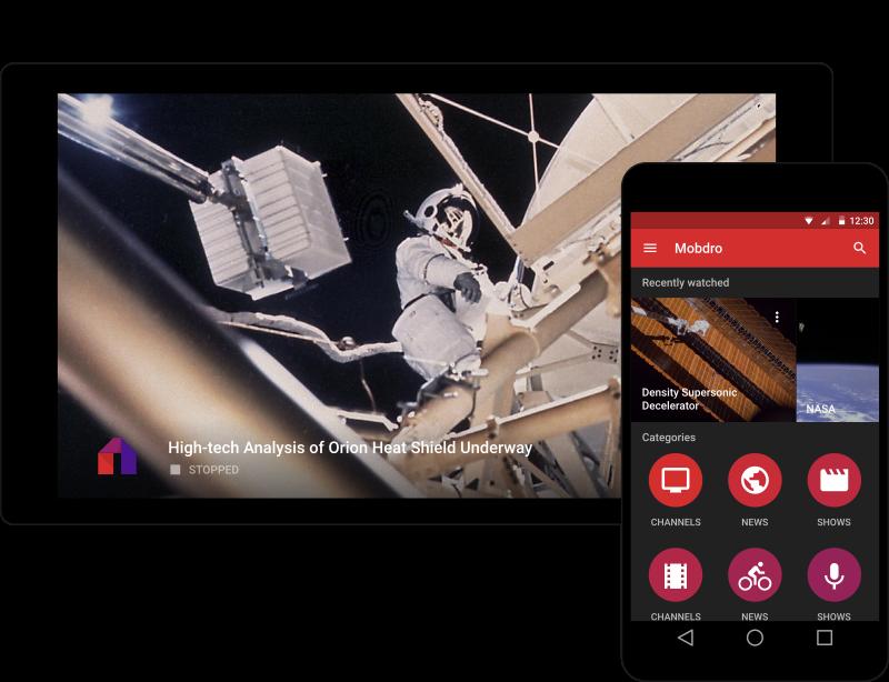 Interfaces Mobdro sur mobile et Tablette