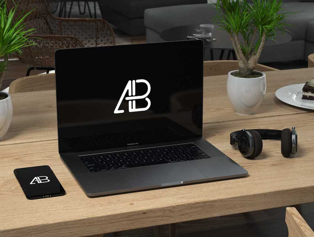dark gray macbook pro mockup psd workspace