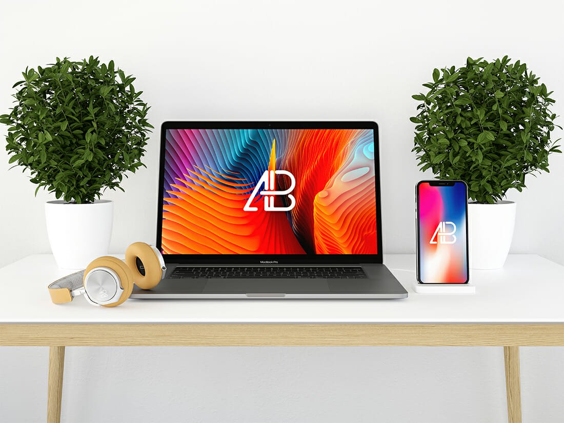 modern iphone x and macbook pro vol.2 mockup