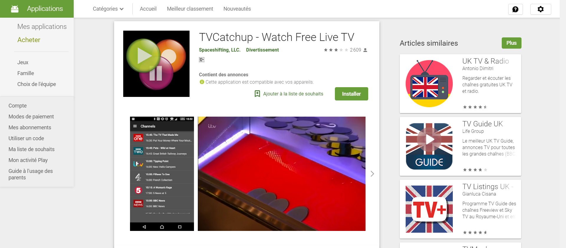 Alternatives Mobdro : TV Catchup, streaming TV légal (Application mobile)