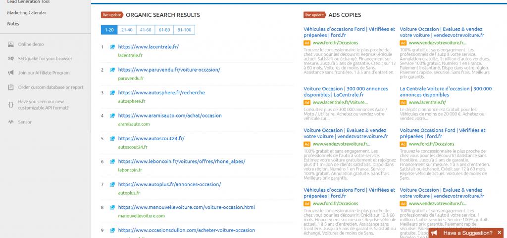 En soumettant les sites les plus populaires d'un domaine à SemRush, il est possible de découvrir des mots-clés secondaires qu'il pourrait être bon d'inclure dans ses propres pages.