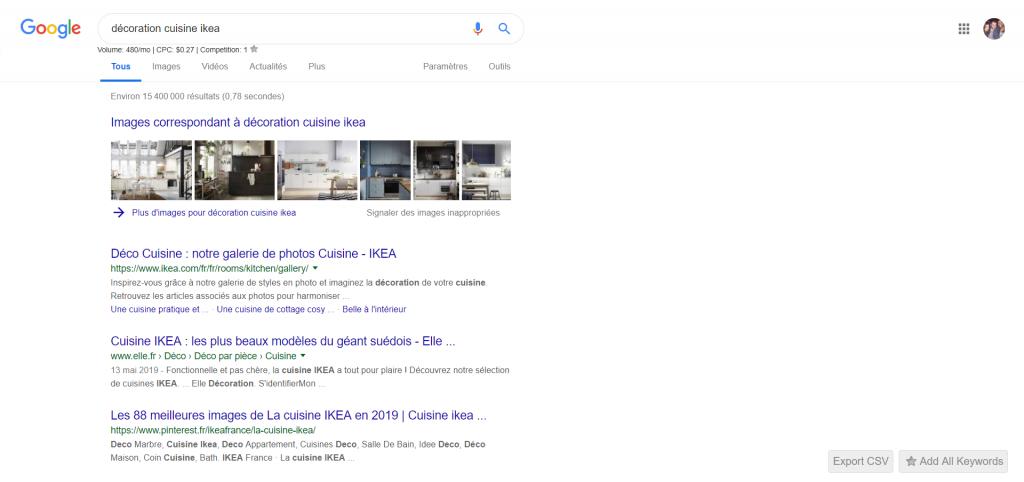 À la requête « décoration cuisine ikea », nous pouvons voir que Google affiche en premier lieu des sites comportant ces termes.