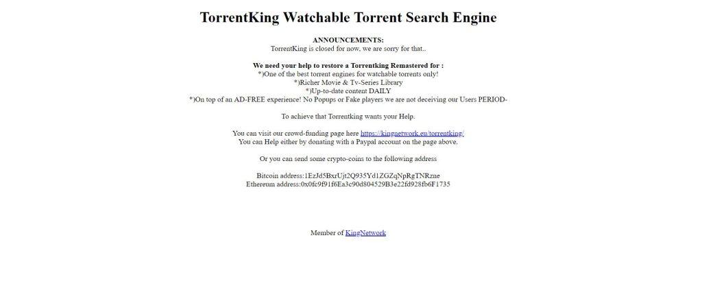 ANNONCES :  TorrentKing est fermé pour l'instant, nous en sommes désolés…