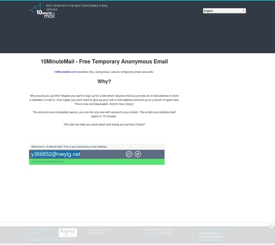 10 minutes mail : site d'adresses mails temporaires