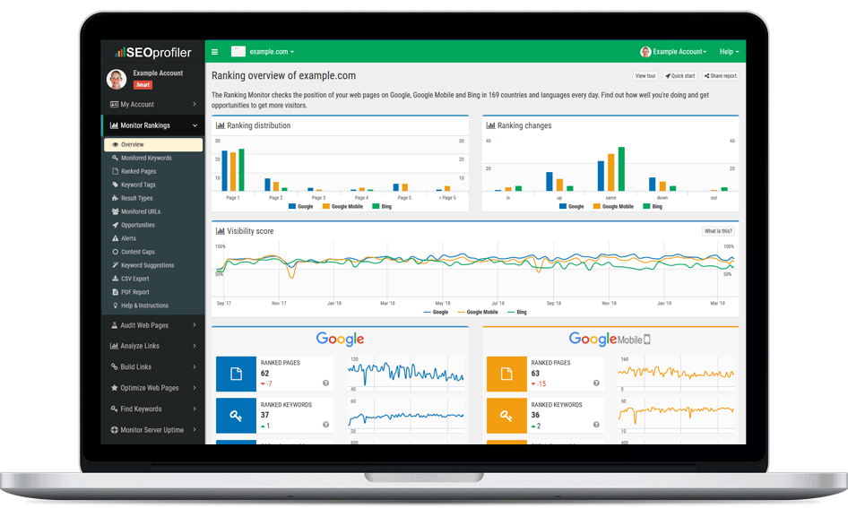 SEOprofiler est un outil complet de promotion de site Web qui offre des outils SEO pour la recherche de mots-clés, l'optimisation de pages Web, l'analyse de liens, la construction de liens, les contrôles de classement, les audits SEO, la surveillance du site Web, l'analyse de site Web, et beaucoup plus.