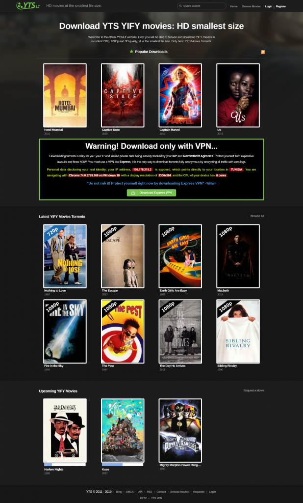 YTS.lt : Téléchargez gratuitement les films YIFY torrents en qualité 720p, 1080p et 3D.
