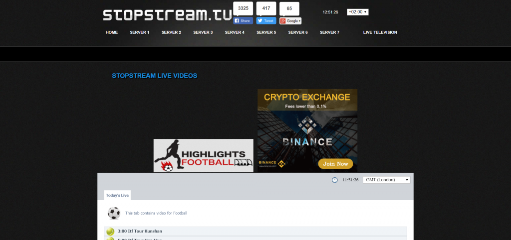 Interface StopStream.tv - Streaming sportif en direct gratuit