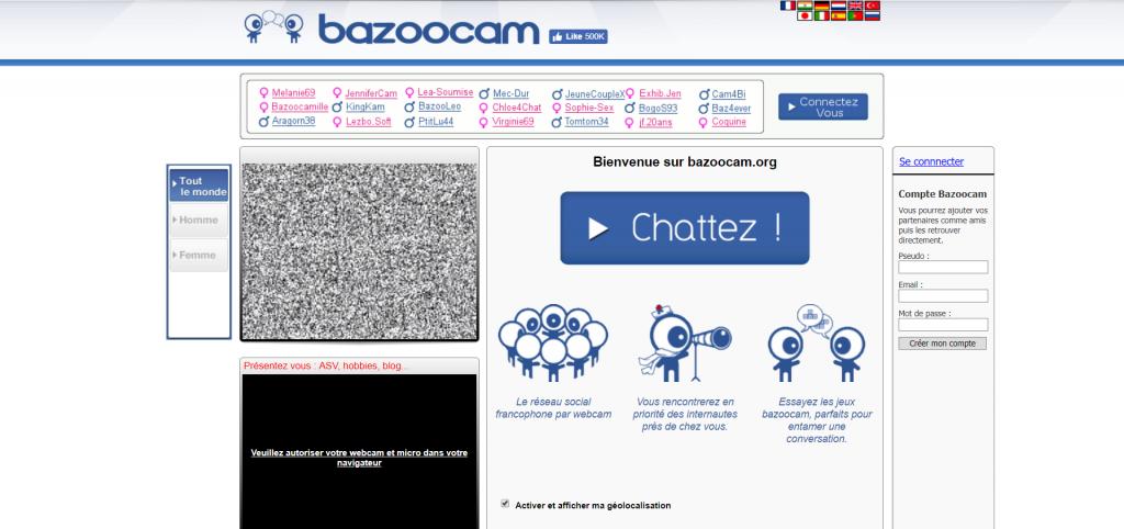 Interface d'accueil Bazoocam.org - site web