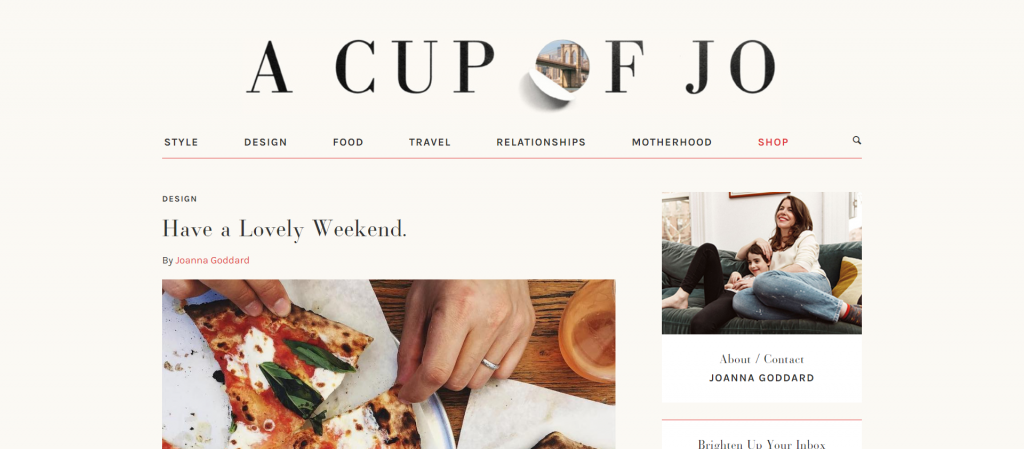 Meilleurs Blogs Lifestyle anglais - Cup Of Jo