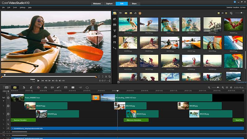 Interface Corel VideoStudio Pro X10 : Un des meilleurs logiciels de montage video payants pour YouTube.