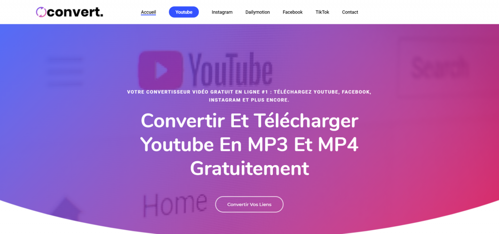 Accueil Convert.tn : Il permet de convertir les vidéos Youtube en plusieurs formats