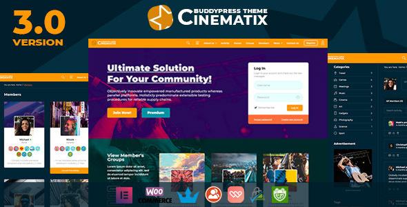 WP Thème : Cinematix – Thème d'adhésion BuddyPress Nouveau (Guide,