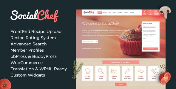 WP Thème : SocialChef – Thème WordPress de recette sociale