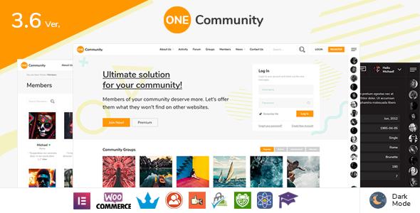 WP Thème : OneCommunity – Thème d'adhésion BuddyPress (Guide, Téléchargement