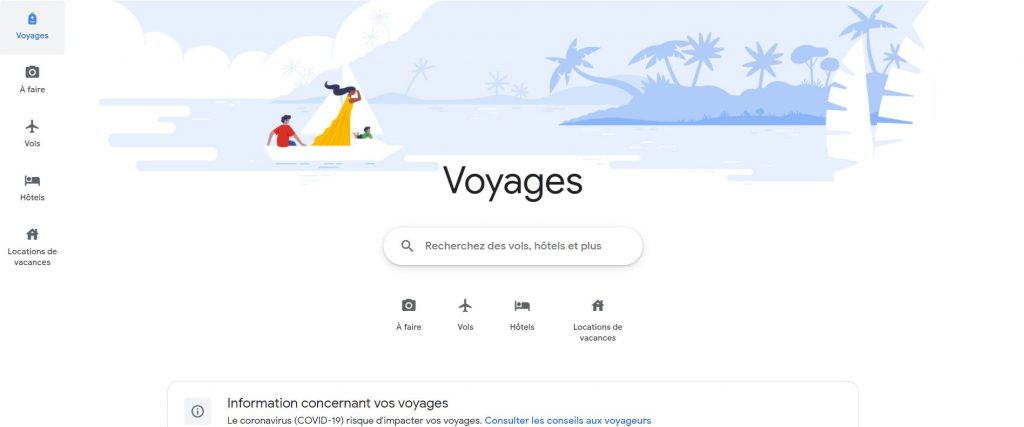 Google Flights - page voyages avec vols, hotels et locations de vacances