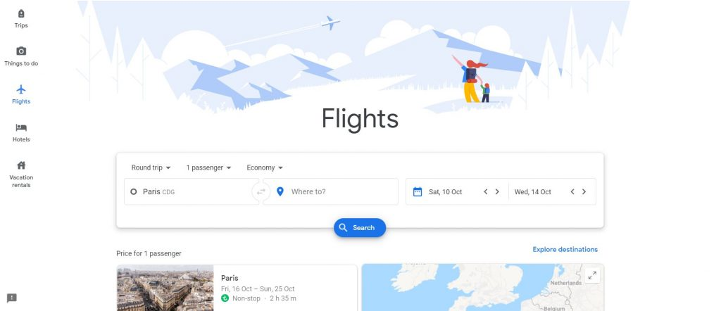 Page des vols Google Flights