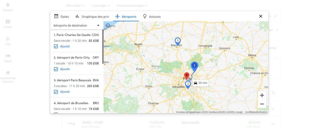 Vols Google Flight - Les aéroports proches