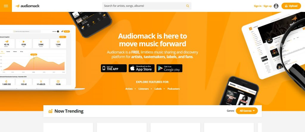 Meilleurs sites téléchargement Musique mp3 Gratuit - audiomack