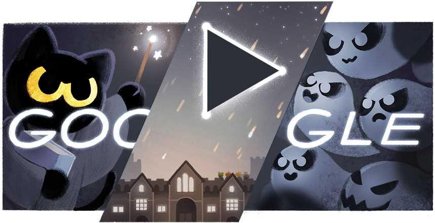 Jeux Google Doodle Halloween Magic Cat Academy