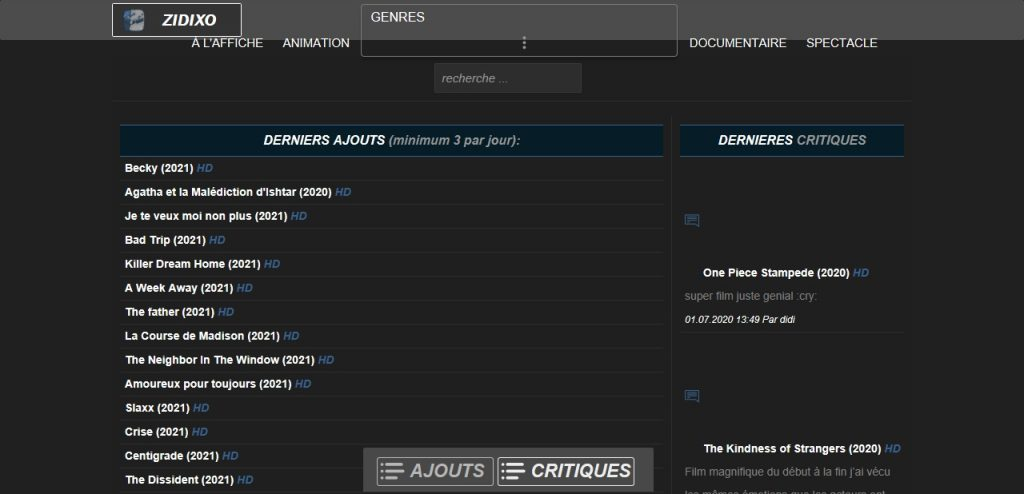 Zidixo : Tous les films, documentaires et animations En Streaming Gratuit