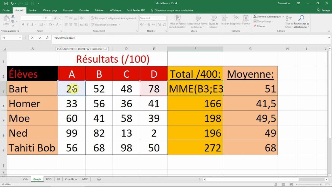 Comment faire une formule de calcul sur Excel ?